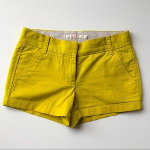 J. Crew Bright Yellow Chino Shorts, Size 0